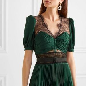 Self-Portrait Satin Pleated Lace Dress Green US10